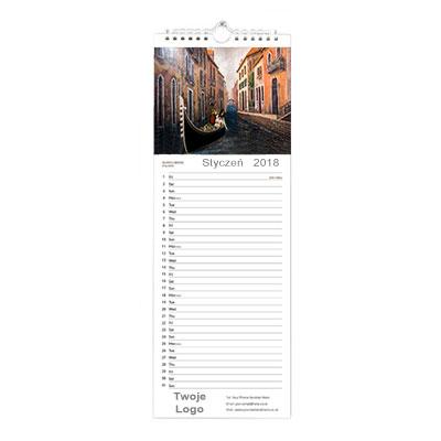 Wąski kalendarz ścienny wzór 1
