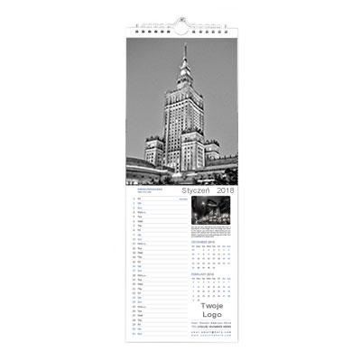 Wąski kalendarz ścienny wzór 2